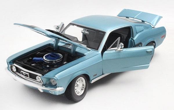 โมเดลรถ โมเดลรถเหล็ก โมเดลรถยนต์ Ford Mustang GT Jet 1968 ฟ้า 4