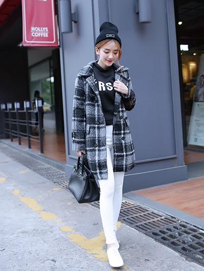 """size M""""พร้อมส่ง""""เสื้อผ้าแฟชั่นสไตล์เกาหลี ราคาถูก เสื้อโค้ทลายสก๊อตสีเทา กระดุม8เม็ด กระเป๋าหน้า2ข้าง มีซับใน -size M"""