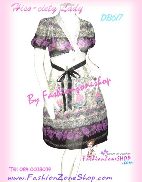 ผ้าชีฟองแบบสวย เชียร์! DB617 Korea Girl ใหม่! แซคแขนตุ๊กตาอกไขว้ ผ้าชีฟอง มีโบผูก ผ้าลายเชิงหรูสวยเก๋