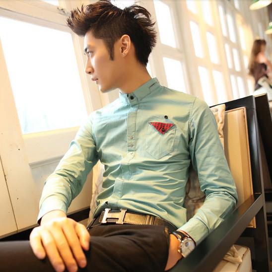 เสื้อผ้าผู้ชาย   เสื้อเชิ้ตผู้ชาย เสื้อเชิ้ตแฟชั่นชาย แขนยาว แฟชั่นเกาหลี