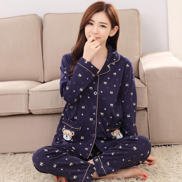 ชุดนอนผ้าคอตตอนไซส์ใหญ่ ปกเชิ้ต แขนยาว-ขายาว สีน้ำเงินลายหมี (XL,2XL,3XL)