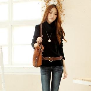"""""""พร้อมส่ง""""เสื้อผ้าแฟชั่นสไตล์เกาหลีราคาถูก Brand Tokyo Fashion เสื้อไหมพรมกันหนาว คอเต่า แขนยาว -สีดำ"""