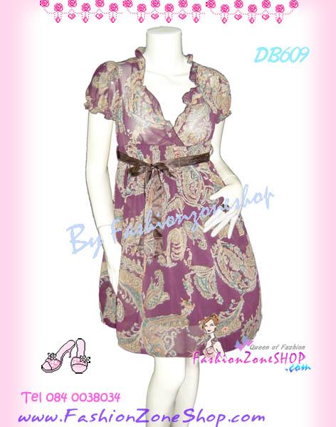 ลายสวยหวานเชียร์! DB609 Floral DreSS ใหม่! แซคผ้าชีฟองคอวีระบายแขนตุ๊กตา ลายฟักนิยมคลาสสิกมาแรง สาวสวยหวาน สีเปลือกมังคุด