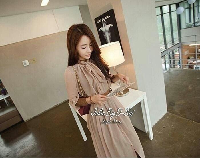 Jolie By D-Sai Maxi Dress Long Brown With Belt Style Korea