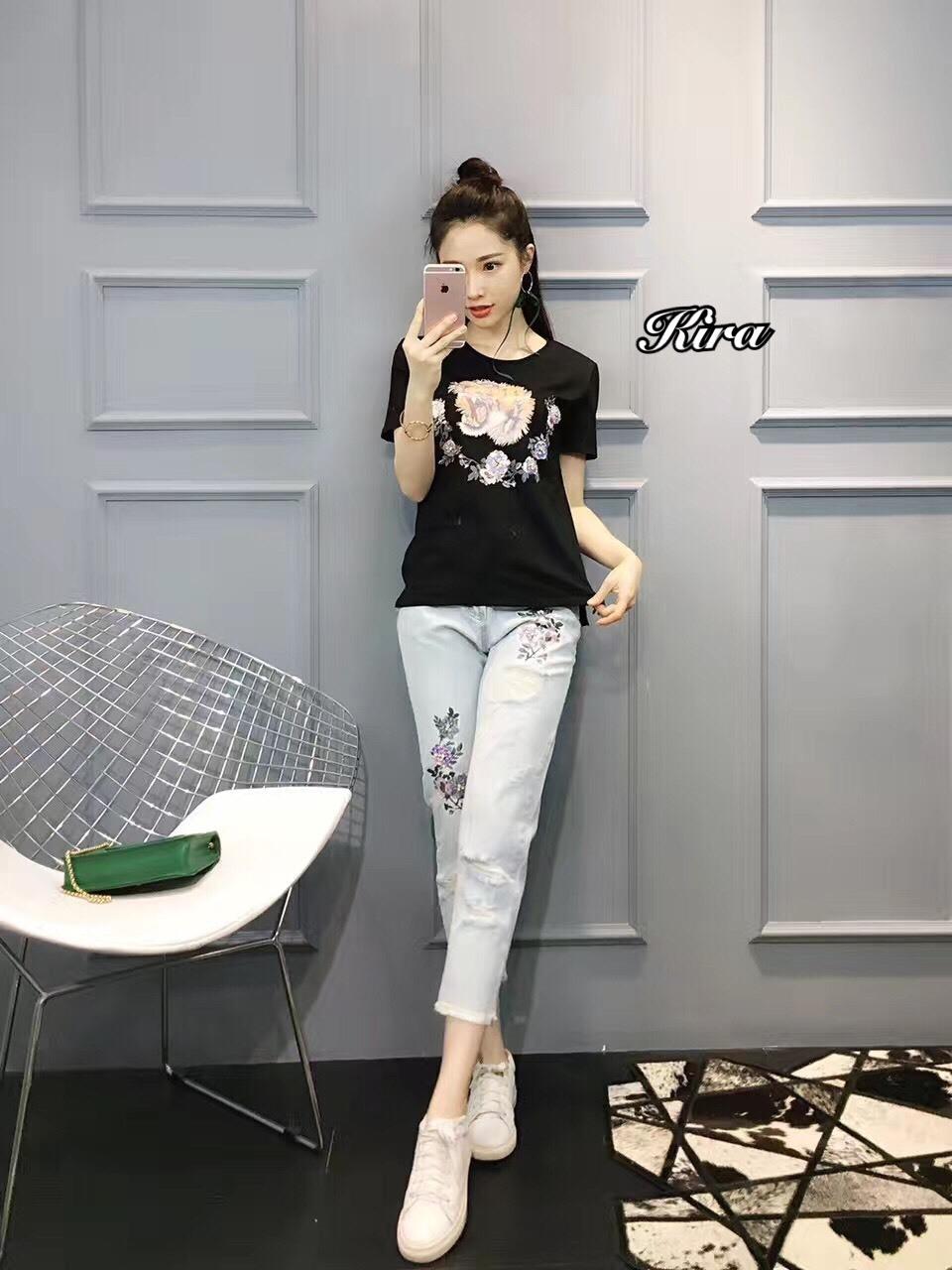 เสื้อผ้าแฟชั่นเกาหลีพร้อมส่ง ชุดเซท เสื้องานปักลายแบรน Gucci