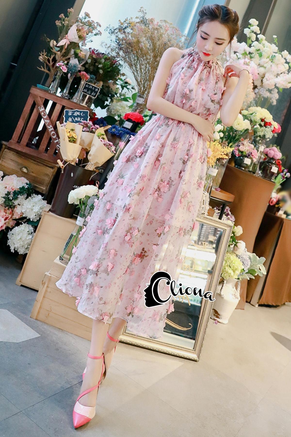 ชุดเดรสเกาหลี พร้อมส่งlong dress สีหวานสายเดี่ยวแบบผูก