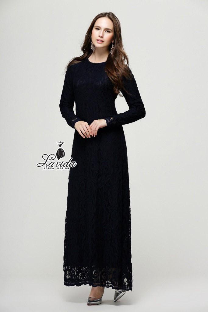 ชุดเดรสเกาหลี พร้อมส่งแมกซี่เดรส ดีไซน์งานผ้าลูกไม้โทนสีดำทั้งชุดท