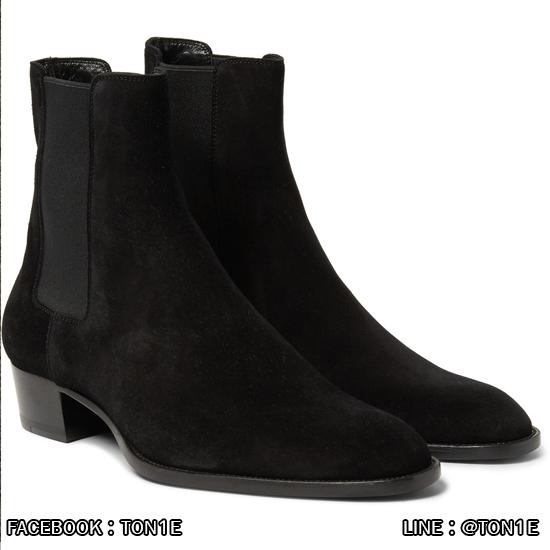 รองเท้าบู๊ทSaint Laurent Chelsea Mens Boots หนังกลับด้านสีดำ