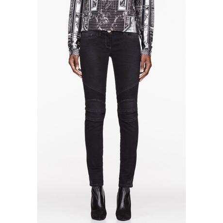 กางเกง Balmain Black Ribbed Biker Denim Jeans(สำหรับผู้หญิง)
