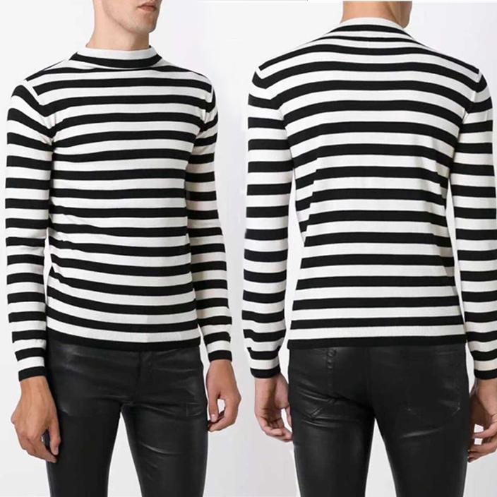 Saint Lautrent Roll-neck Striped Wool Sweater Men/Women