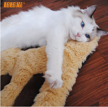 MU0017 เบาะนอนแมว Tada กำมะหยี่ น่ารักรูปร่างรอยเท้าการ์ตูน หนานุ่ม