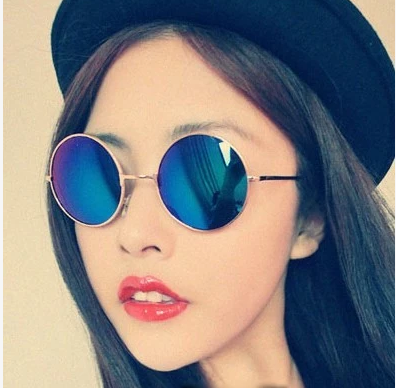 แว่นตากันแดดแฟชั่นเกาหลี กรอบสีทองเลนส์ปรอทสีฟ้า