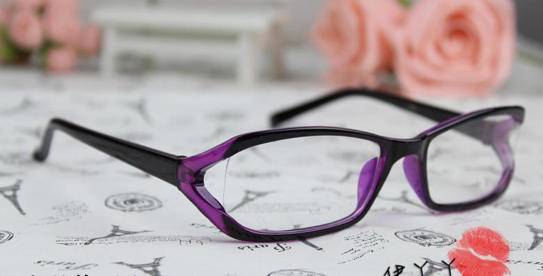 แว่นตาแฟชั่นเกาหลี สีม่วงดำ (พร้อมเลนส์)