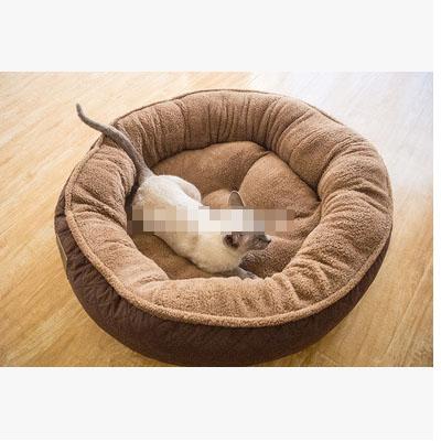 ที่นอนหมาแมวทรงกลมขนาดใหญ่ สีน้ำตาลอ่อน สีน้ำตาลเข้ม
