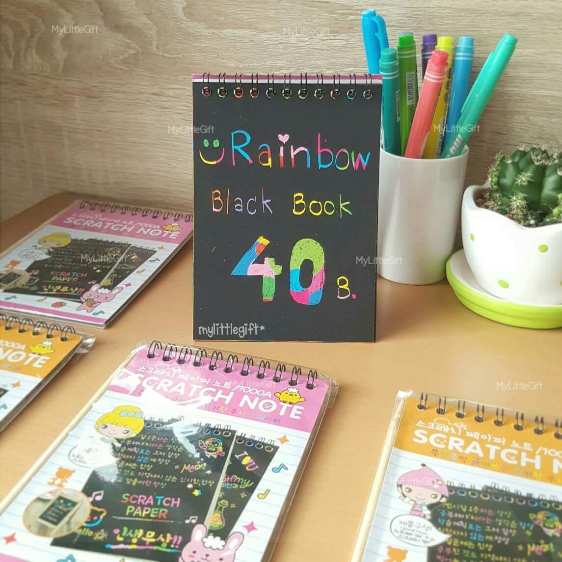 "SCRATCH NOTE ""Rainbow Black Book"" สมุดห่วงบน สีดำ พร้อมไม้ขูด"