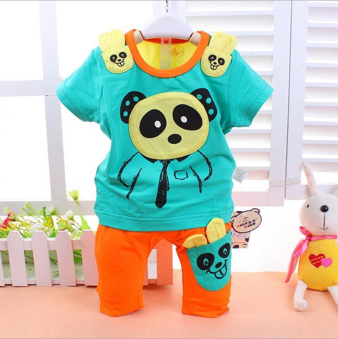 ชุดกางเกง เสื้อแขนสั้นสีเขียว+กางเกงสีส้ม ลายหมีแพนด้า