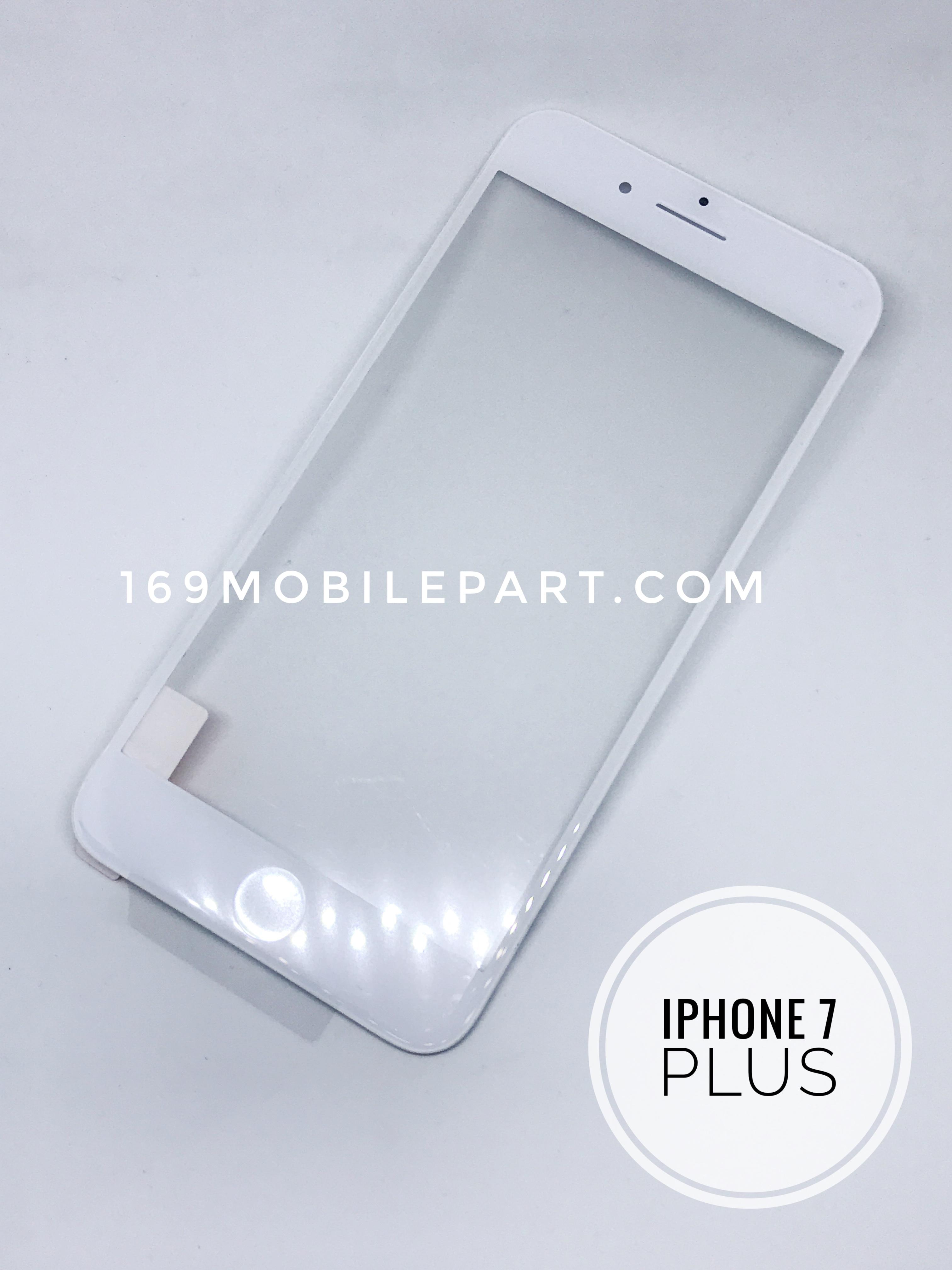 กระจก iPhone 7 Plus พร้อมขอบจอ + กาว OCA สีขาว