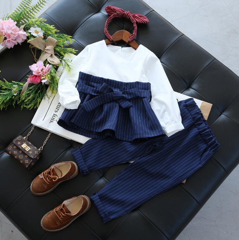 เสื้อแขนยาว ผ้าคาดเอว+กางเกง สีน้ำเงิน