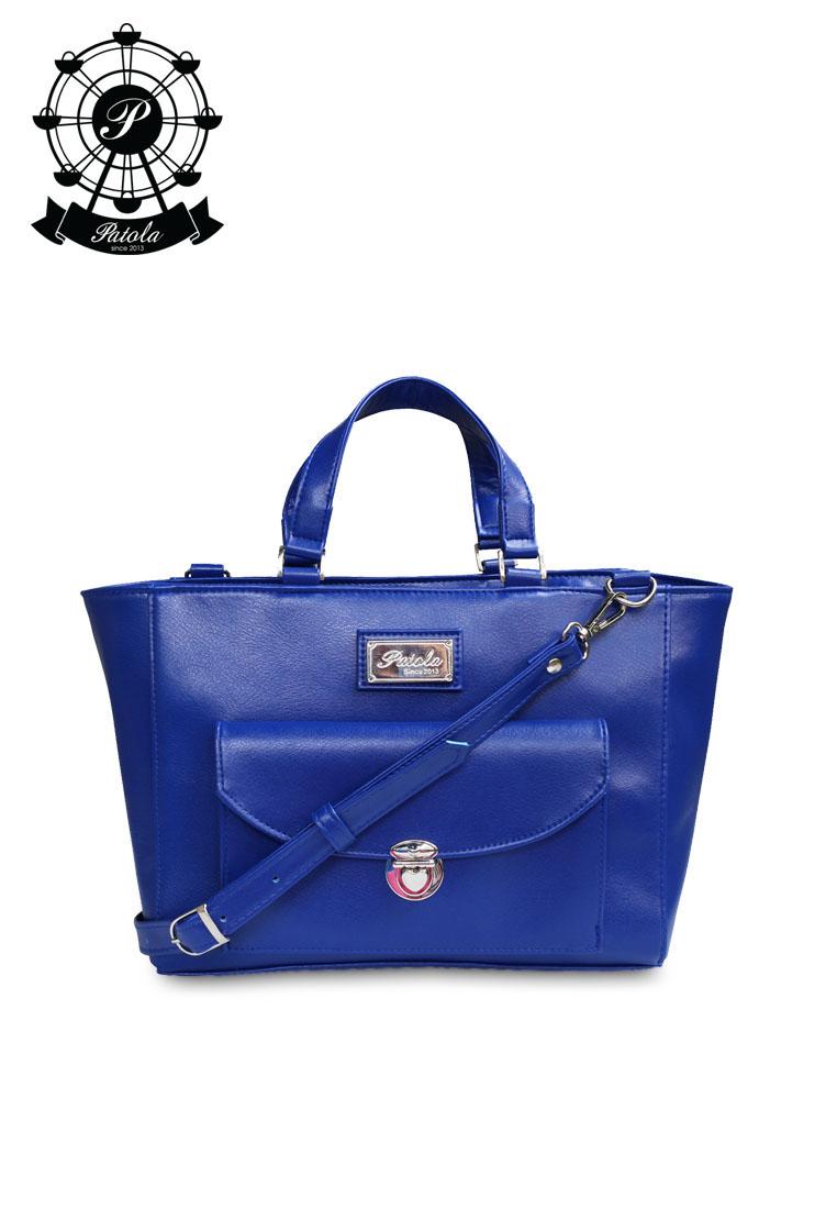 Patola รุ่น VN กระเป๋าทรงกล่อง หนังด้านpu สีน้ำเงิน