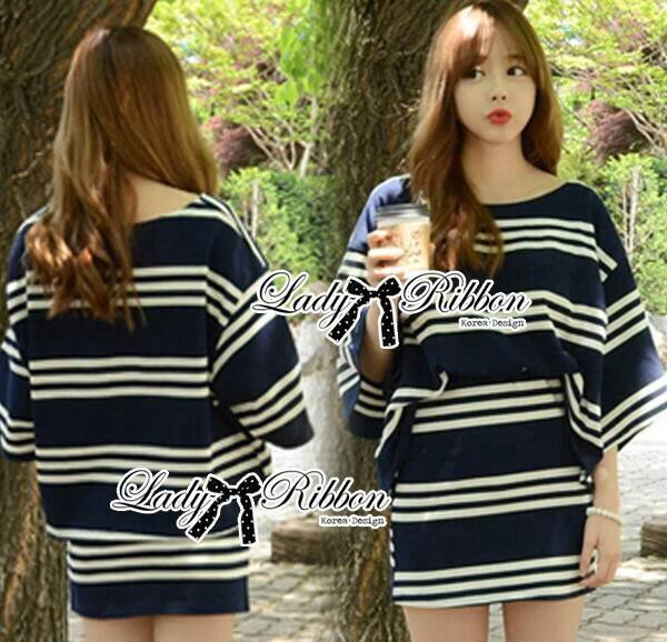 Lady Rebecca Minimal Chic Striped Cotton Jersey Set L129-69C06