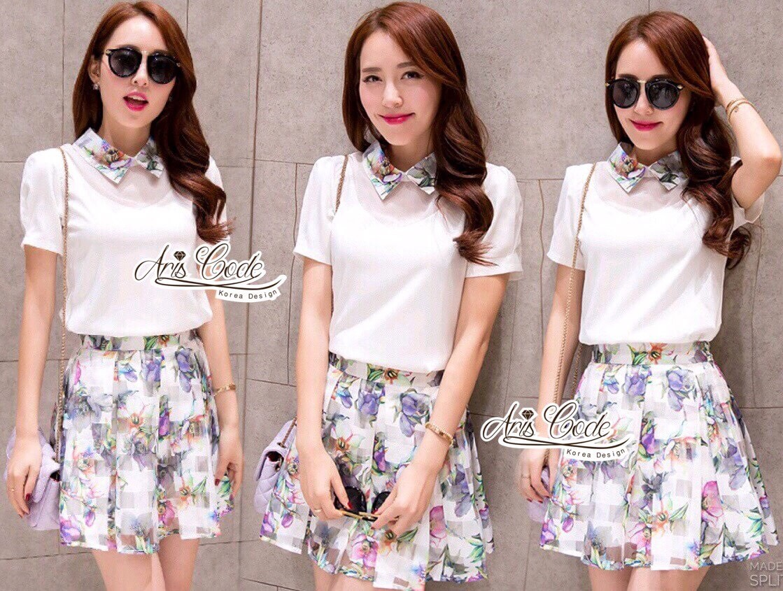 Korean short-sleeved two-piece organza floral skirts by Aris Code