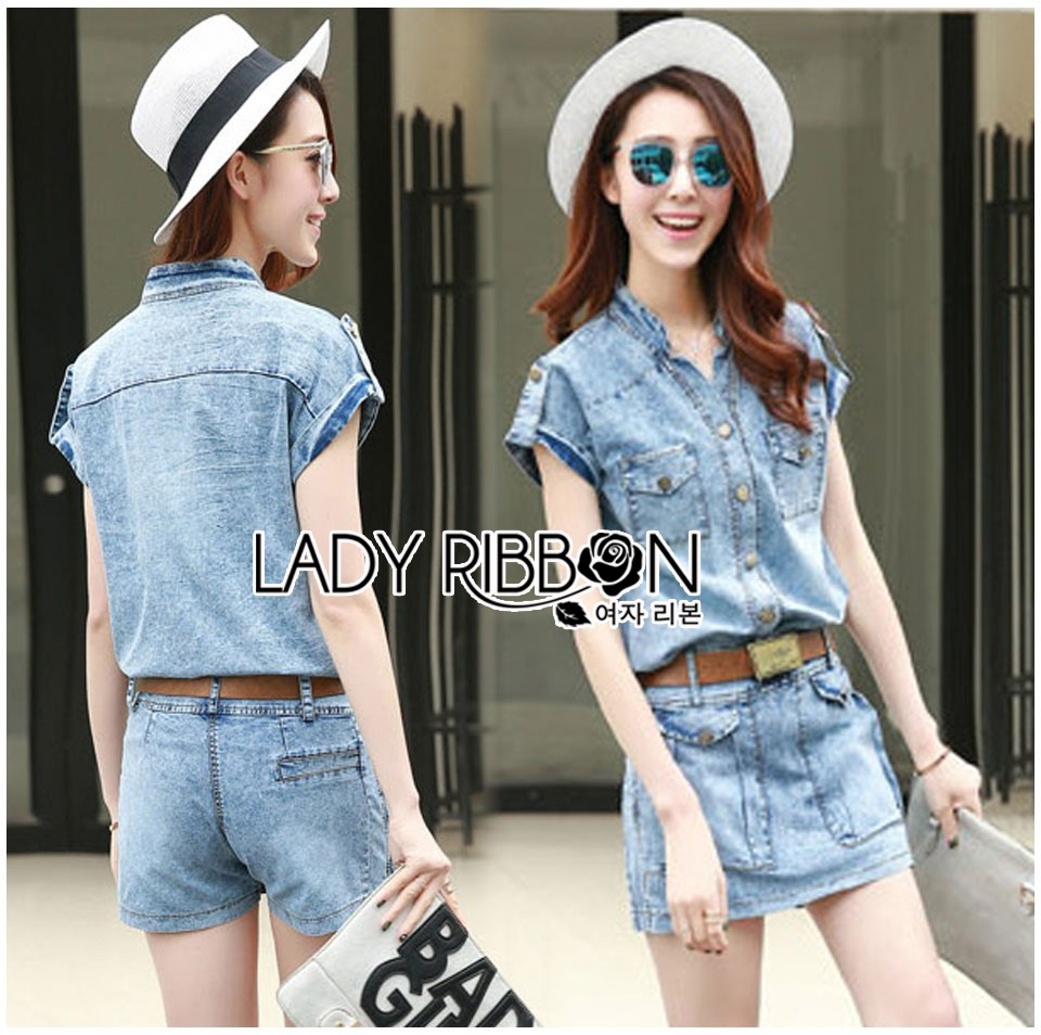 Lady Cindy Little Western Cowboy Denim Shirt and Shorts Set with Belt L262-8507
