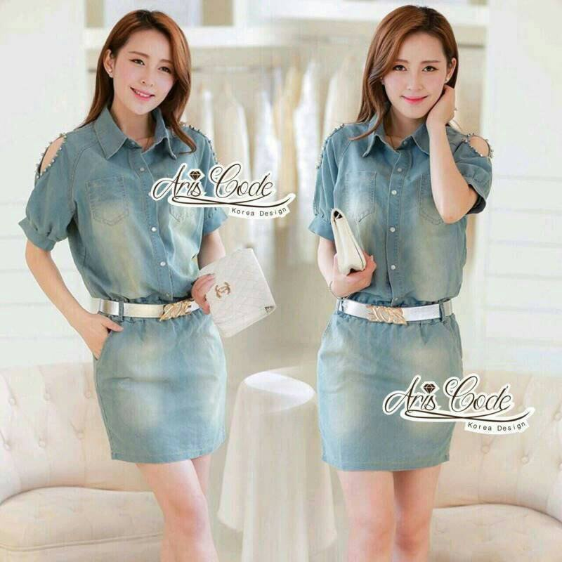 Korean pins sleeve dress short sleeve denim skirt package with a belt by Aris Code