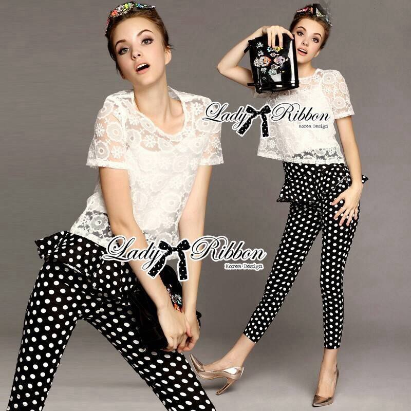 Lady Rose Lace Blouse and Polka Dots Peplum Pant Set L131-79C07