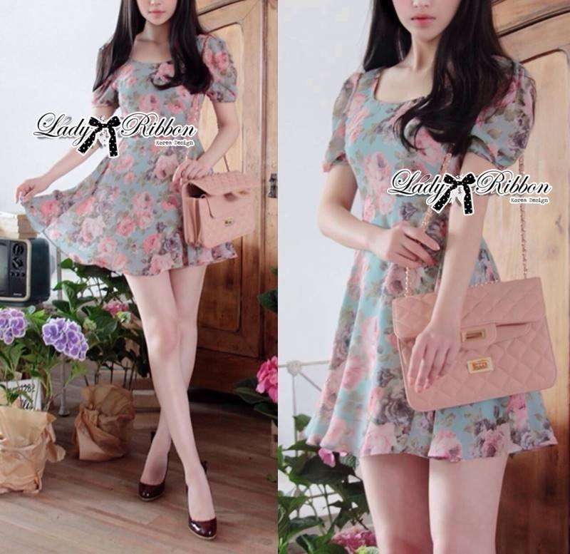Lady Carley Sweet Blooming Bouquest Pastel Dress