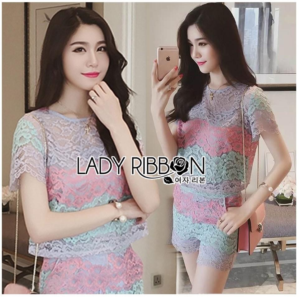 Lady Rachel Rainbow Pastel Striped Lace Set L263-7908