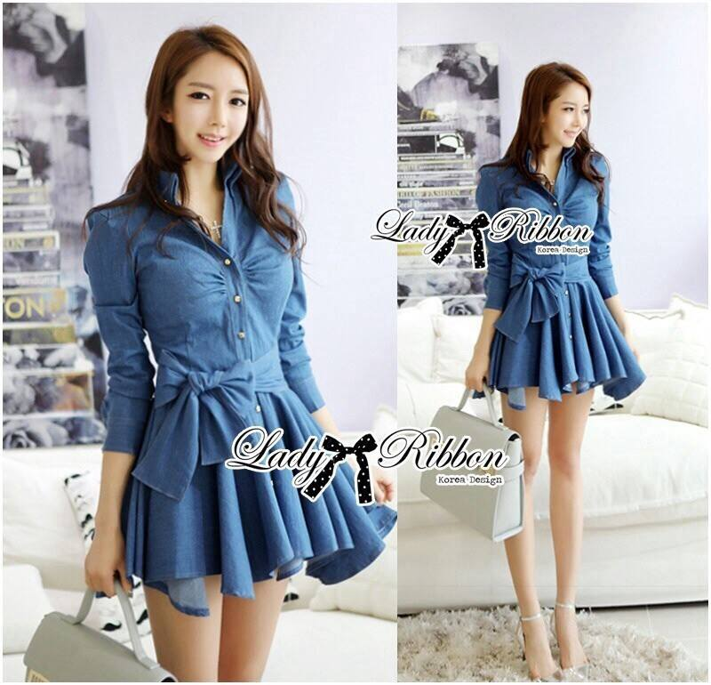 DR-LR-154 Lady Sarah Smart Casual Feminine Denim Shirt Dress
