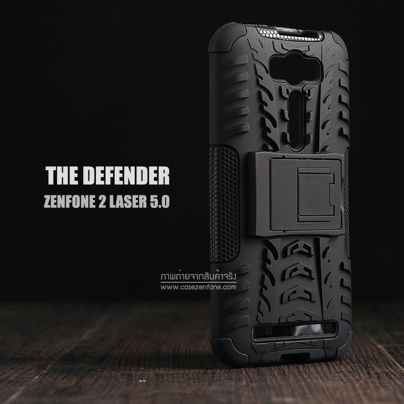 เคส Zenfone 2 Laser (5 นิ้ว) กรอบบั๊มเปอร์ กันกระแทก Defender สีดำ (เป็นขาตั้งได้)