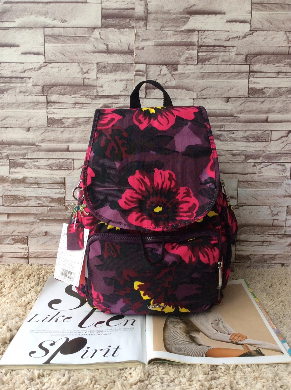 กระเป๋าเป้ KIPLING K 12147 CITY PACK B OUTLET HONG KONG ลายดอกไม้