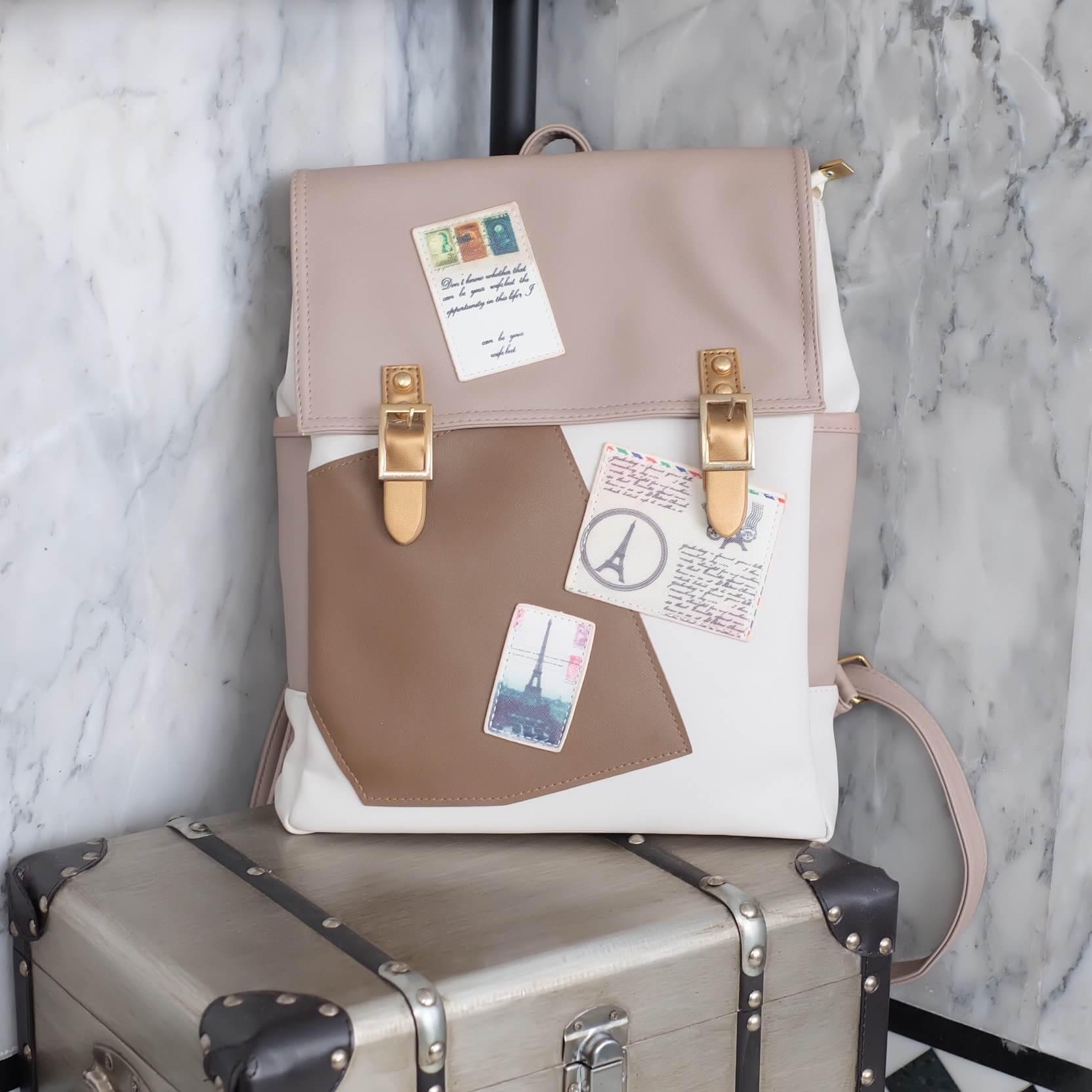 กระเป๋า David Jones มาฝาก ค่า เป้หนังสวย ๆ ตกแต่งเกร๋ ไม่ซ้ำแบบใคร ขนาดกะทัดรัด น้ำหนักเบา ใบนี้ได้ไปสวยคุ้มเลยค่า