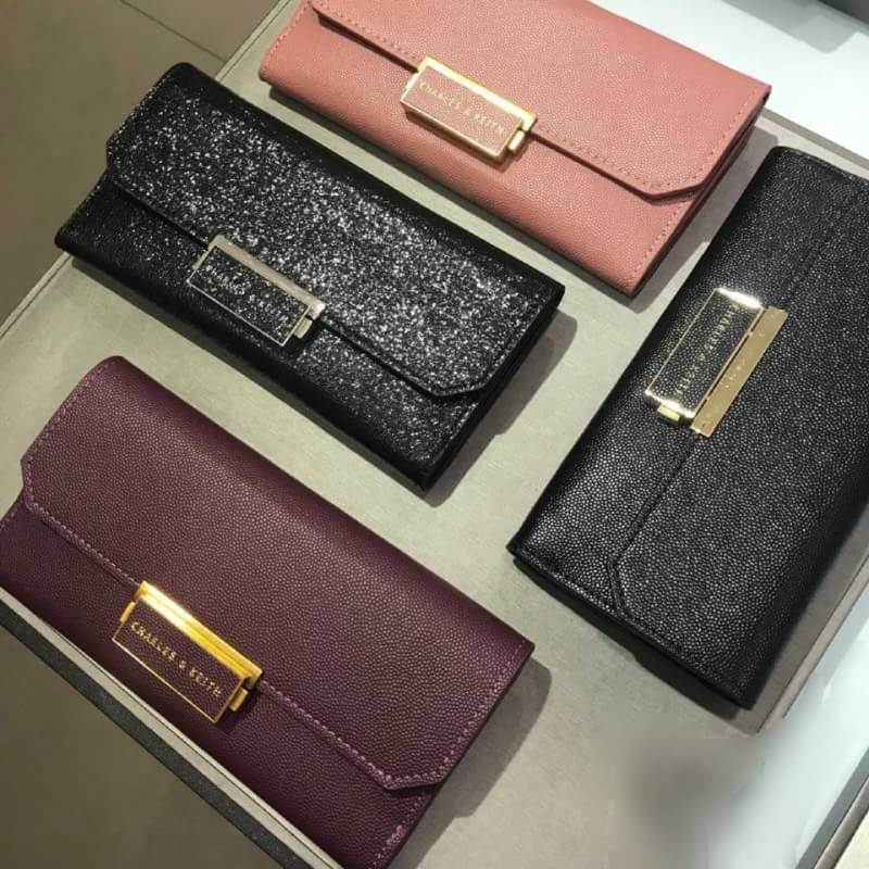 CHARLES & KEITH LONG WALLET free ถุงผ้ากันฝุ่นแบรนด์