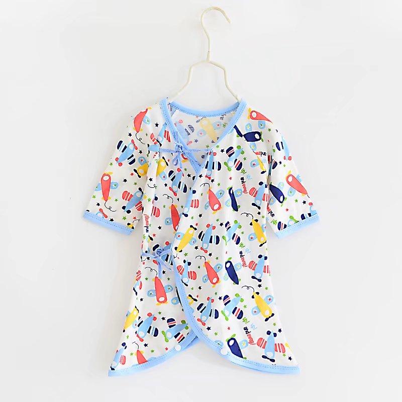 ชุดเด็กอ่อน แรกเกิด ผูกหน้า เป้ากระดุมสำหรับเปลี่ยนผ้าอ้อม - Blue