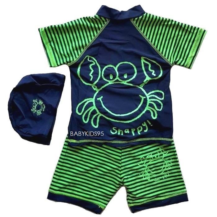 SWB-01 Size 120 ชุดว่ายน้ำเด็ก เสื้อ+กางเกง+หมวก