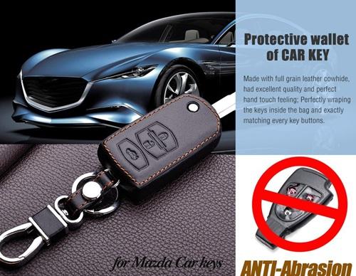 ซองหนังแท้ใส่กุญแจรีโมทรถยนต์ Mazda 2 แบบพับข้าง รุ่น 3 ปุ่มกด สีดำคลาสสิก
