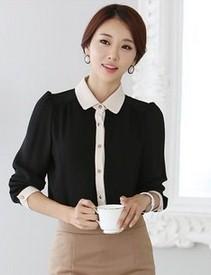 เสื้อทำงานแฟชั่นสไตล์เกาหลีสวยๆ เสื้อแขนยาวสีดำ คอปกสีเบจอ่อน ผ้าชีฟอง กระดุมผ่าหน้า