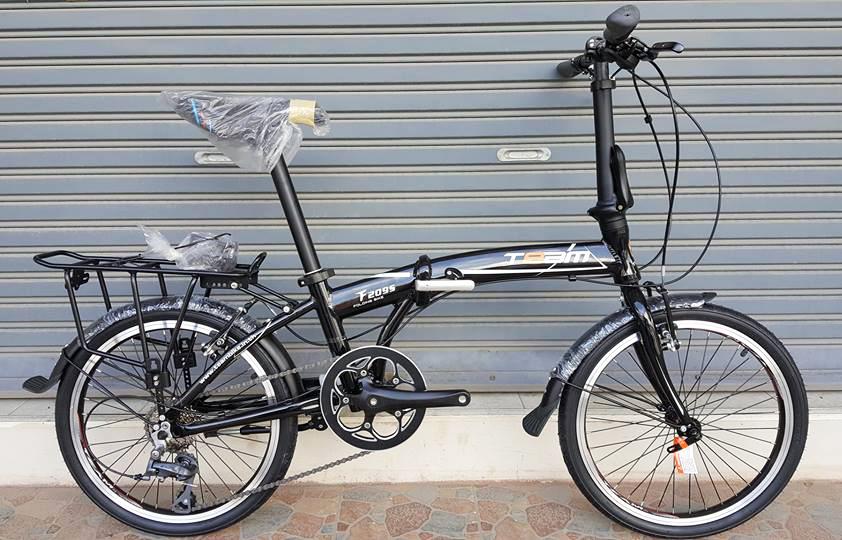 จักรยานพับเฟรมอลูมิเนียม สุดยอดด้วยดุม Novatec เกียร์ Claris 8 Speed ยี่ห้อ Team รุ่น F2095 สีดำ ตะเกียบโครโมลี