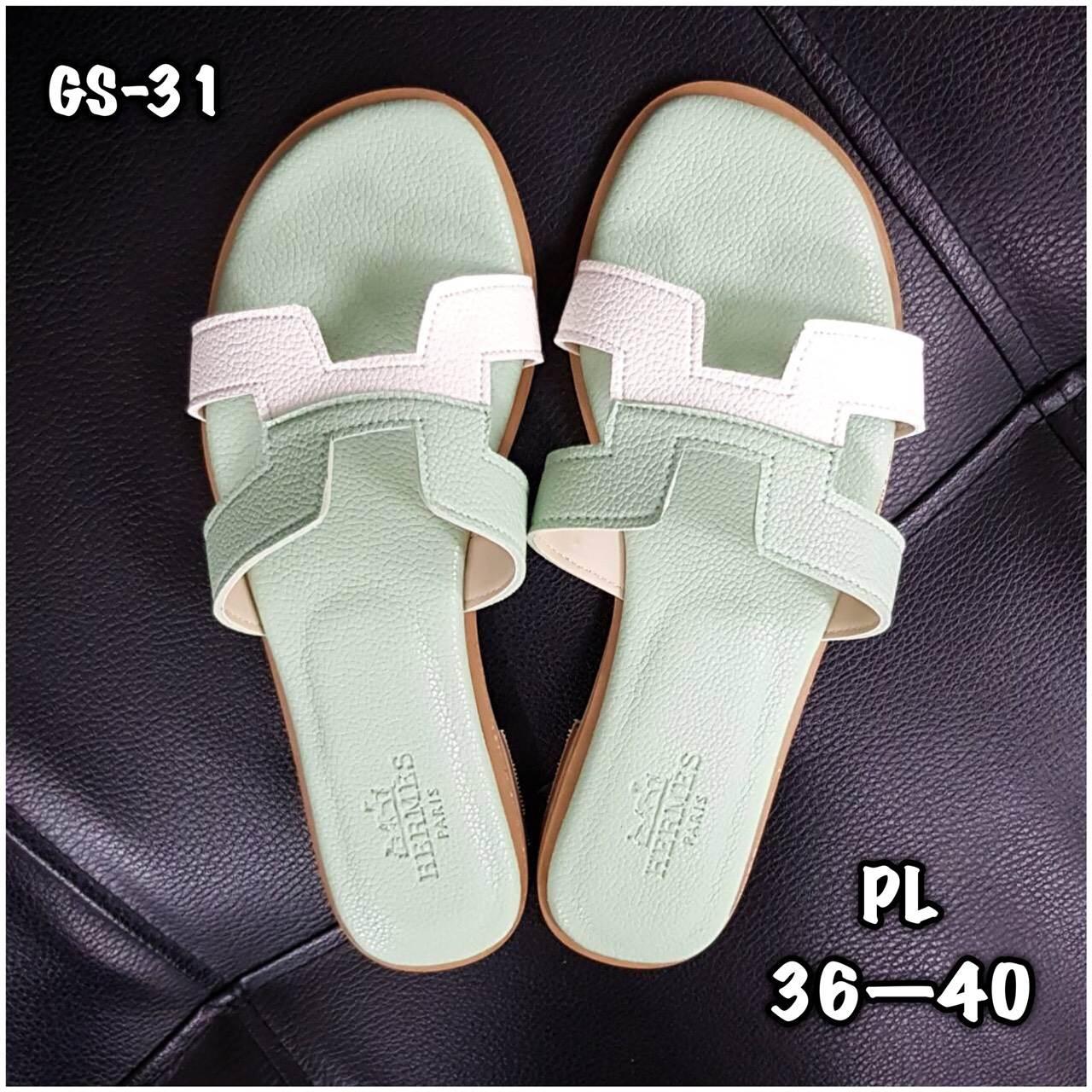 รองเท้าแตะแฟชั่น แบบสวม คาดหน้า H สไตล์แอร์เมส ตัดสีสวยเก๋ หนังนิ่ม ทรงสวย ใส่สบาย แมทสวยได้ทุกชุด (GS-31)