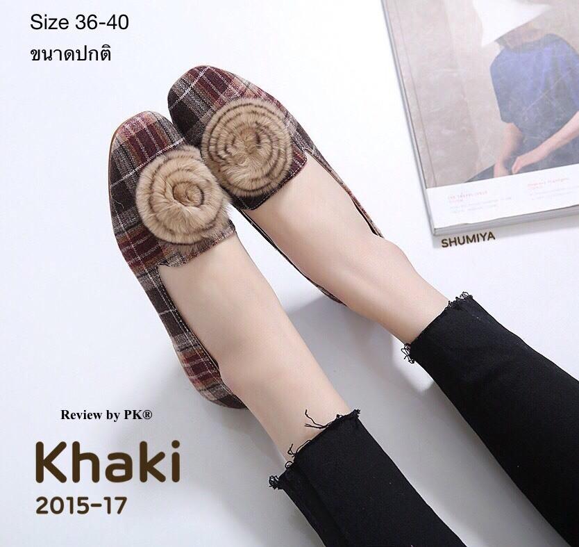 รองเท้าคัทชู ส้นแบน สวยเก๋ น่ารัก ลายสก็อตแต่งเฟอร์กลมเก๋ไม่เหมือนใคร ใส่สบาย แมท ชุดไหนก็สวยดูดี (2015-17)