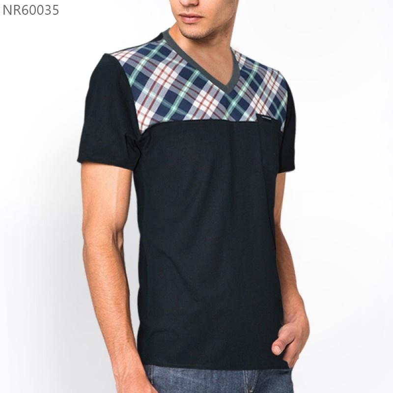 เสื้อยืดคอวี สำหรับ ผู้ชายอ้วน L XL 2XL รหัส NR60035