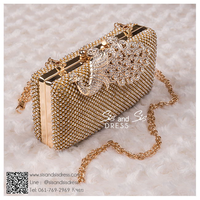 bs0004 กระเป๋าคลัช สีทอง กระเป๋าออกงานพร้อมส่ง ราคาถูกกว่าเช่า แบบสวยๆ ดูดีเหมือนดาราใช้
