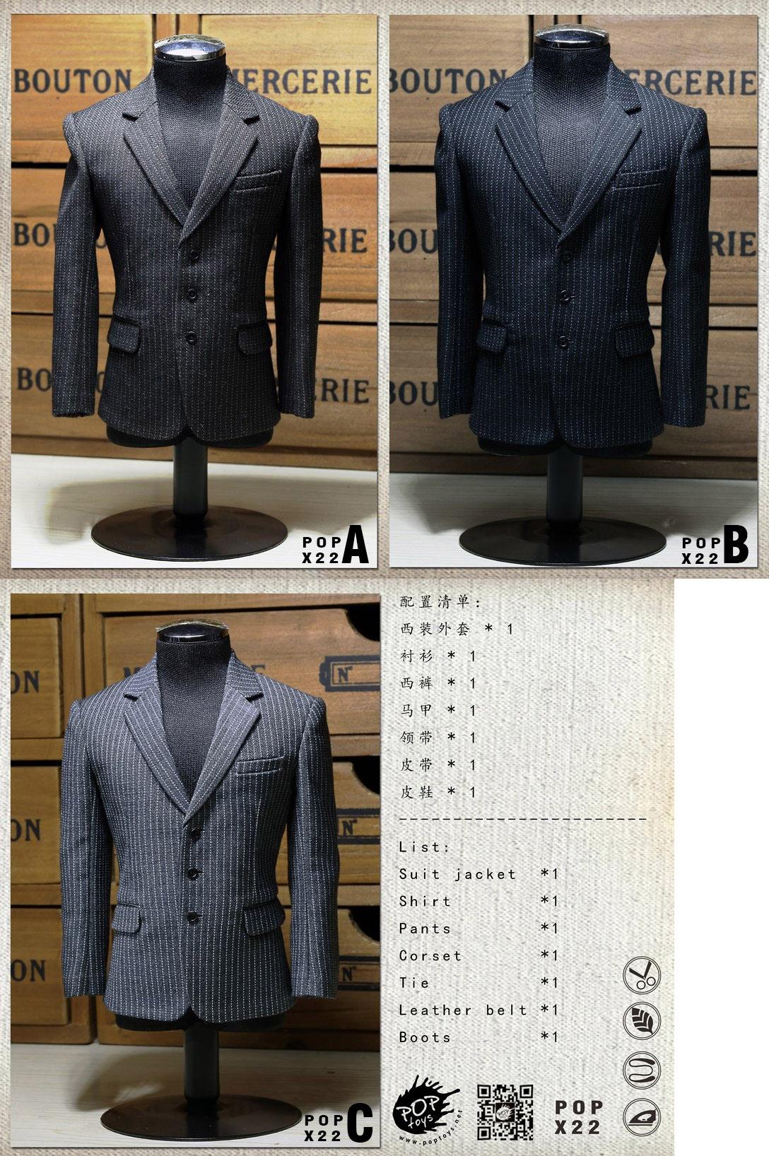 POPTOYS X22 1/6 Style Series - Men's striped Suit X3 colours