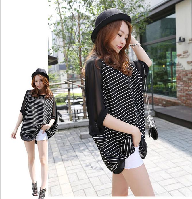 เสื้อยืดแฟชั่นเกาหลี ทรงปีกค้างคาวลายริ้ว แขนเสื้อชีฟอง-1073-สีดำ