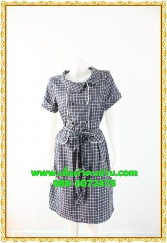 1935ชุดแซกทำงาน เสื้อผ้าคนอ้วน ลายตารางน้ำเงิน คอตลบกุ๊นแถบคู่กระดุมหน้า เนี๊ยบแบบน่ารัก สไตล์สาวยุคใหม่กับปกที่แปลกตาไม่เหมือนใคร