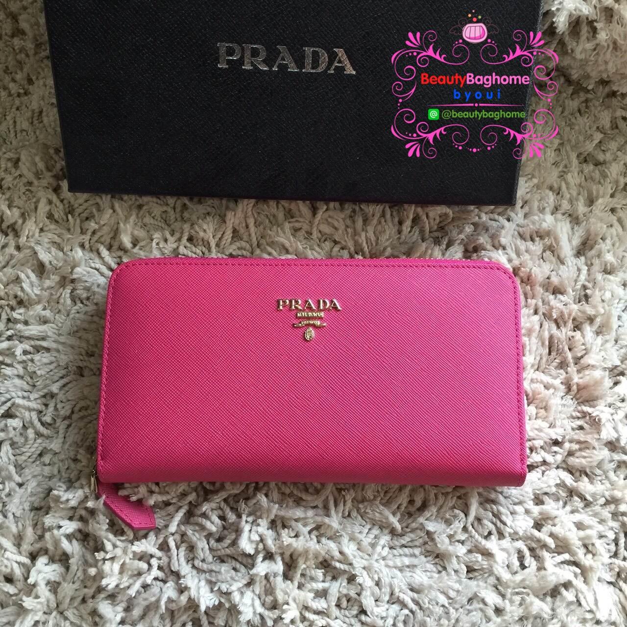 Prada Wallet สีชมพูบานเย็น งานHiend1:1