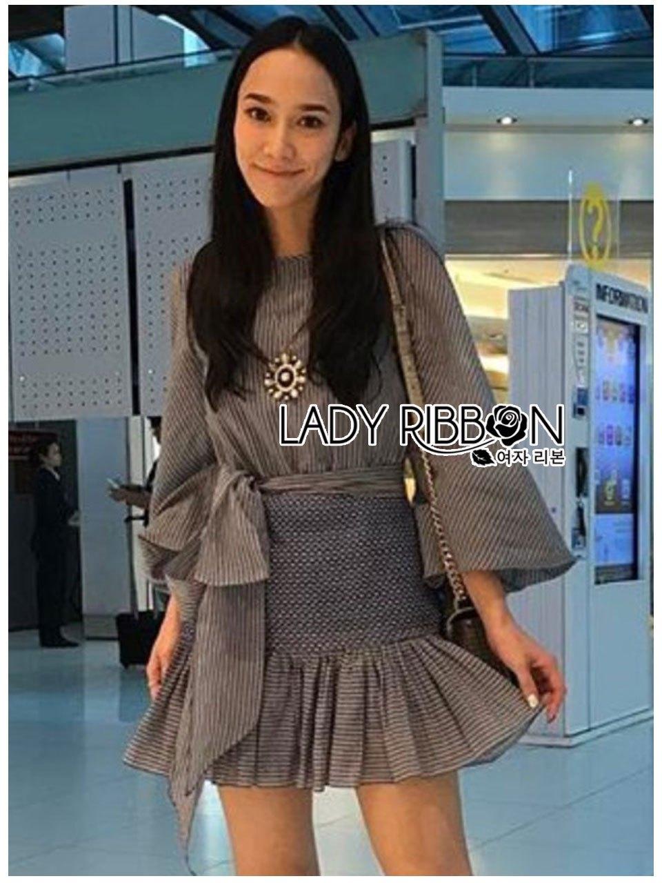 🎀 Lady Ribbon's Made 🎀 Lady Liz Striped Silk Cotton Ruffle Mini Dress with Big Ribbon