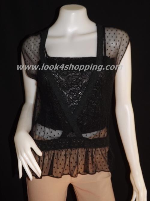 jp1321-เสื้อแฟชั่น ผ้าตาข่ายสีดำ Made in USA. อก 32-34 นิ้ว
